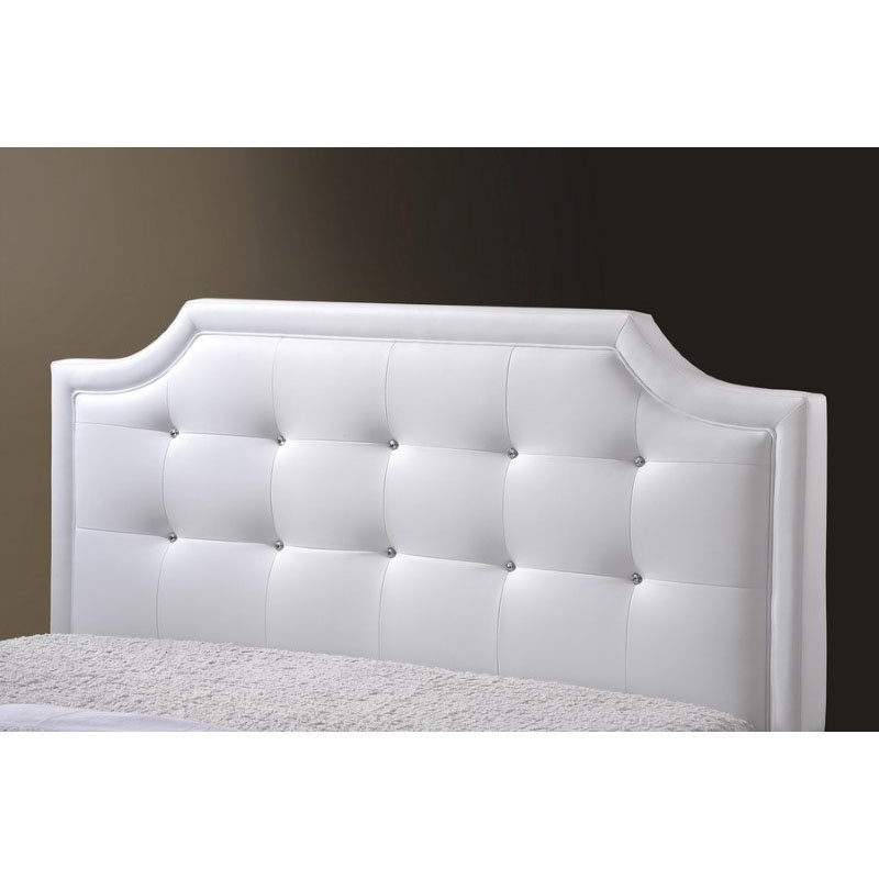 Baxton Studio Carlotta White Modern Bed with Upholstered Headboard in Queen Size