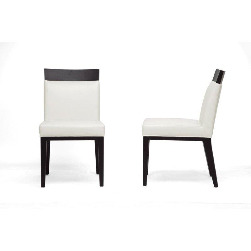 Baxton Studio Clymene Black Wood and Cream Leather Modern Dining Chair (Set of 2)