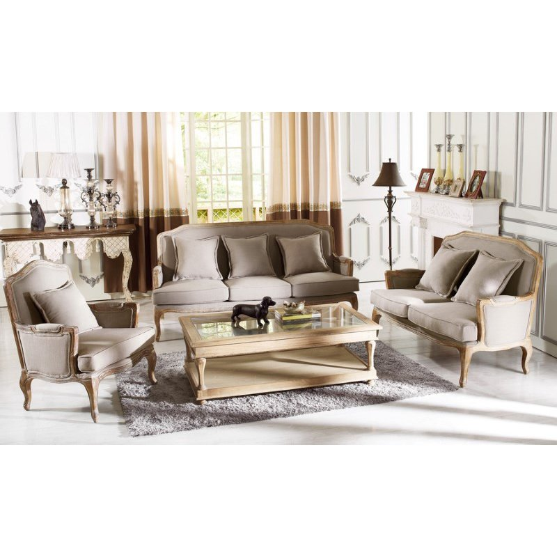 Baxton Studio Constanza Classic Antiqued French Sofa Set