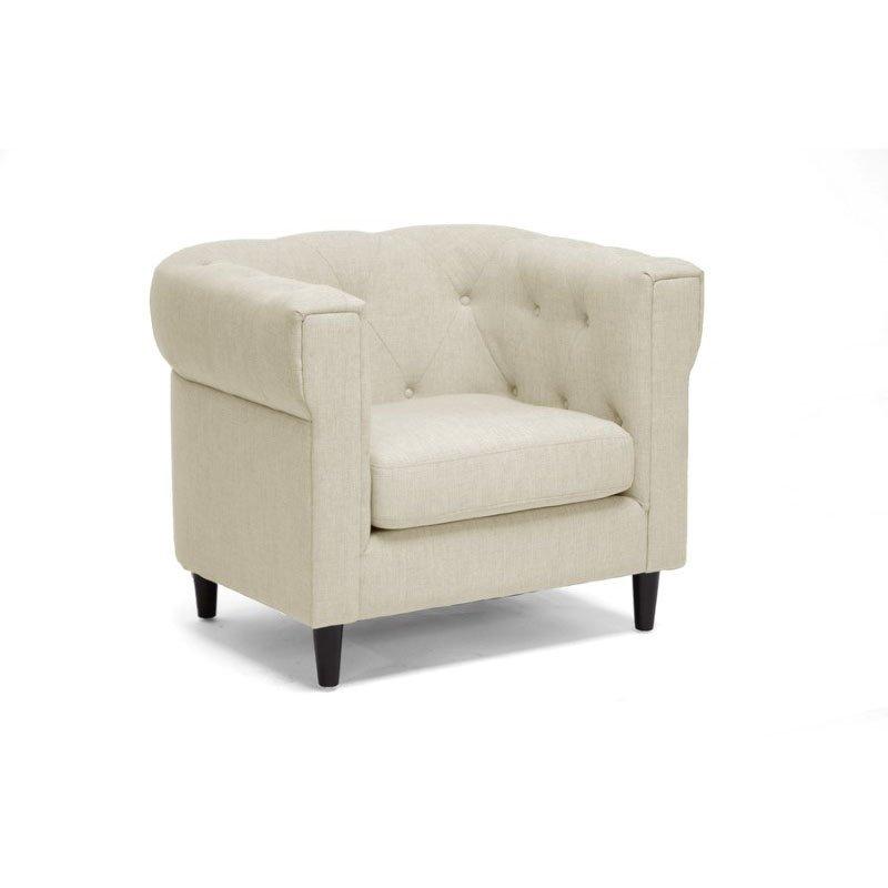 Baxton Studio Cortland Beige Linen Modern Chesterfield Chair