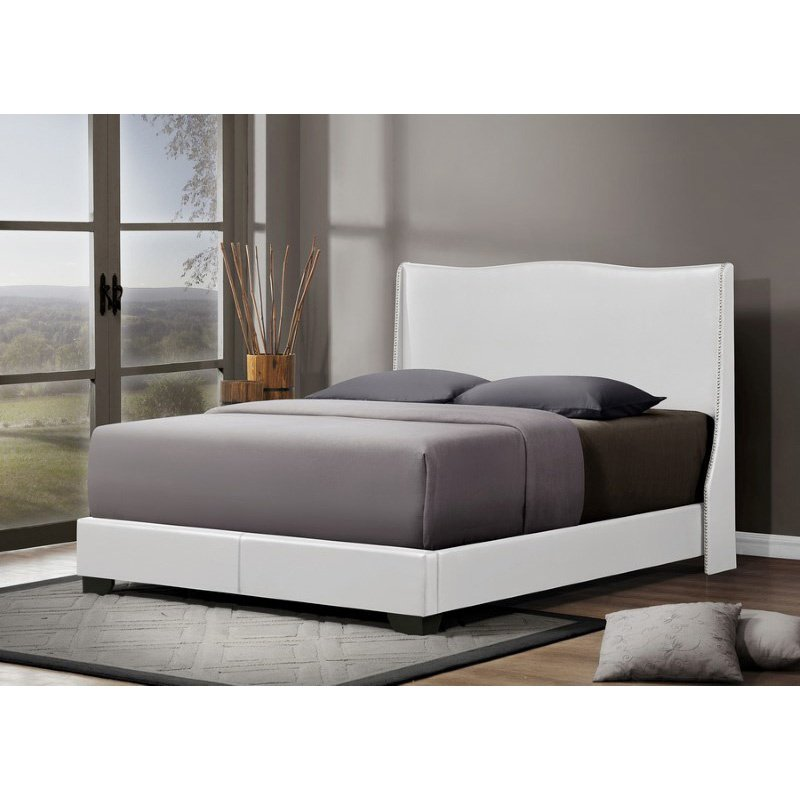 Baxton Studio Duncombe White Modern Bed with Upholstered Headboard in Queen Size