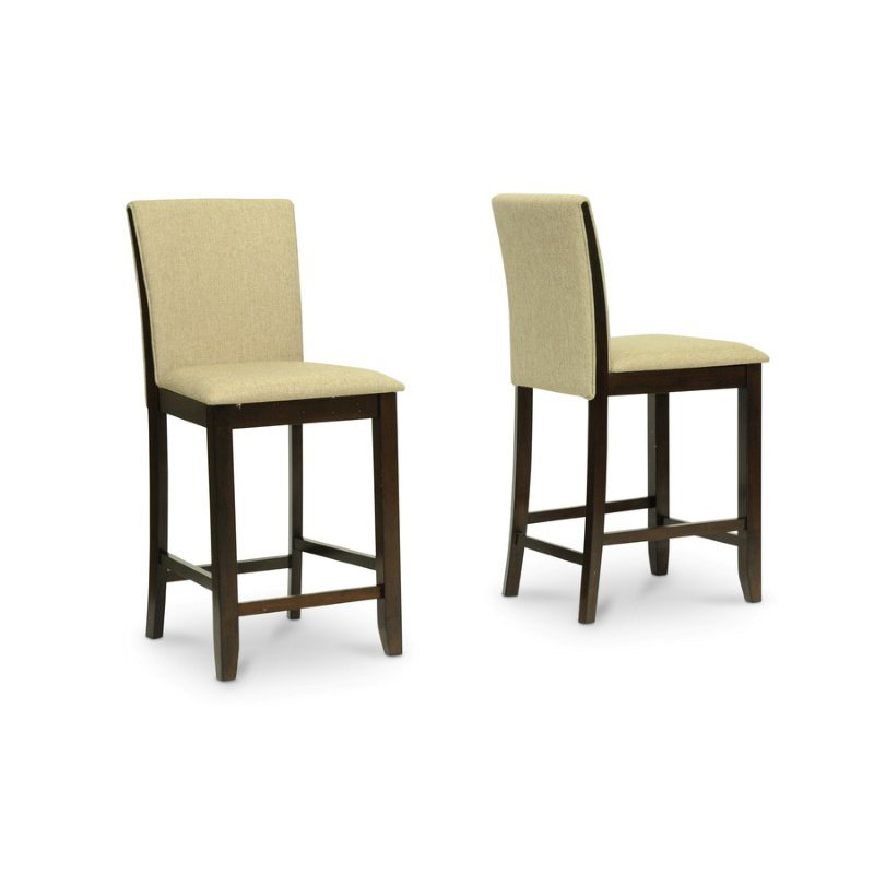 Baxton Studio Everdon Dark Brown Modern Pub Chair (Set of 2)