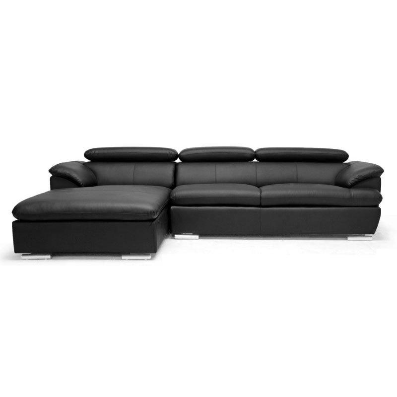 Baxton Studio Ferdinand Black Modern Sectional Sofa with Adjustable Headrests