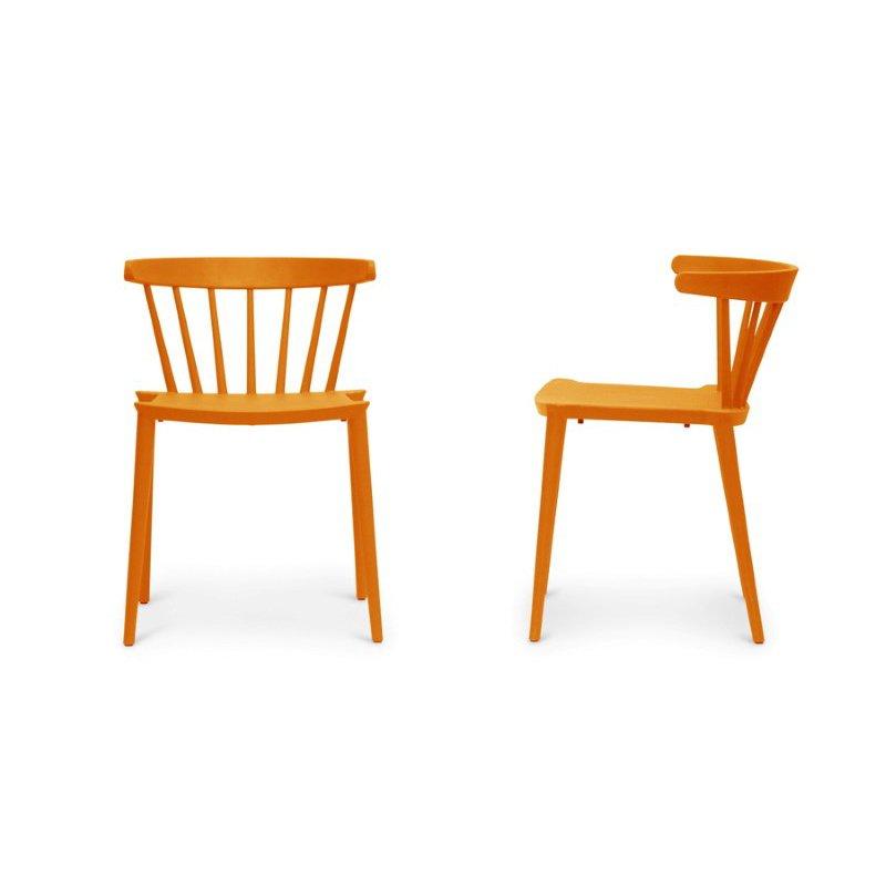 Baxton Studio Finchum Orange Plastic Stackable Modern Dining Chair (Set of 2)