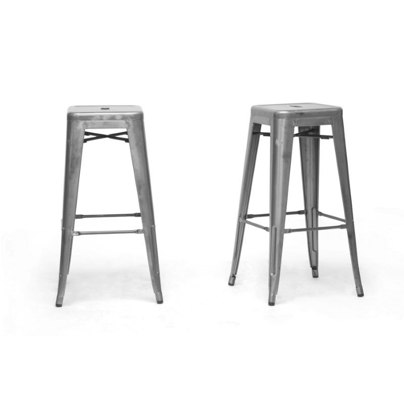 Baxton Studio French Industrial Modern Bar Stool in Gunmetal (Set of 2)