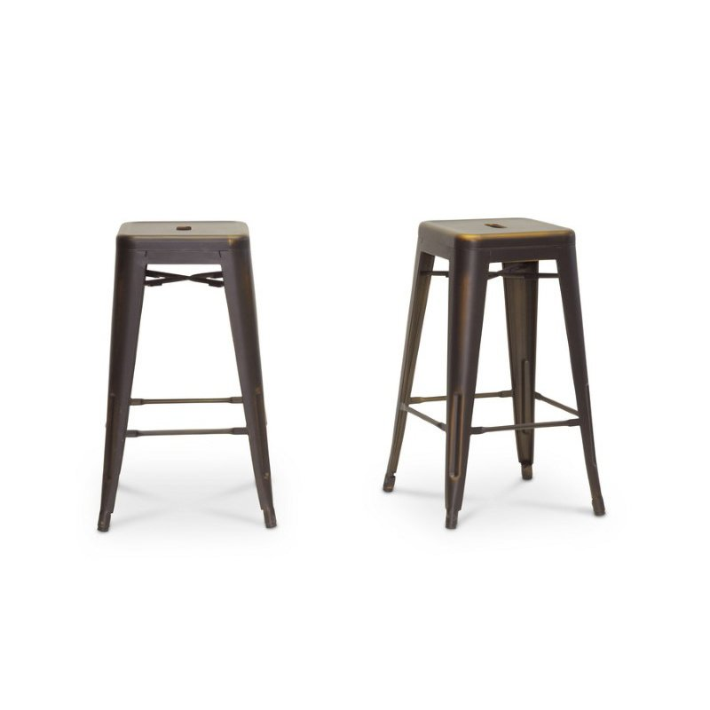 Baxton Studio French Industrial Modern Counter Stool in Antique Copper (Set of 2)