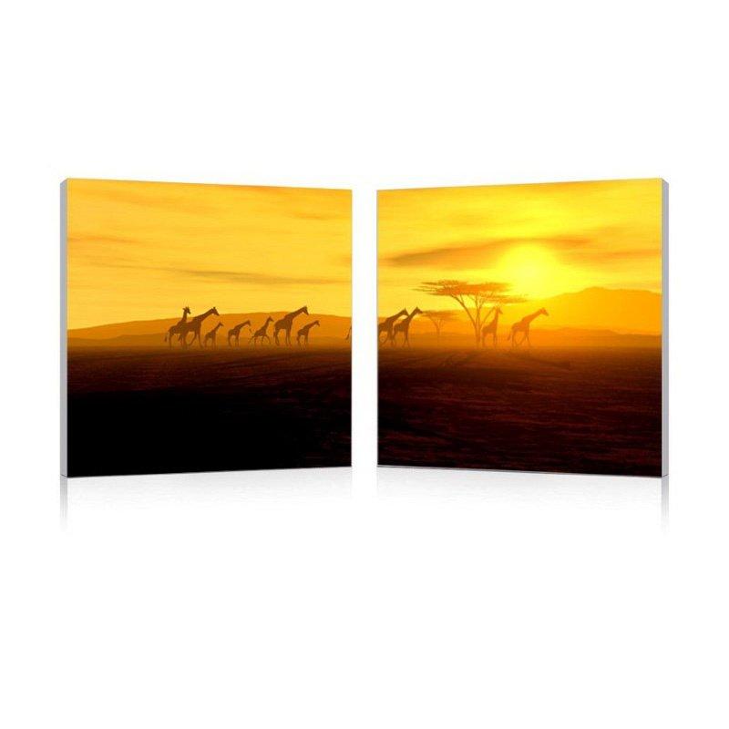 Baxton Studio Glorious Giraffes Mounted Photography Print Diptych