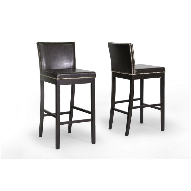 Baxton Studio Graymoor Brown Modern Bar Stool (Set of 2)