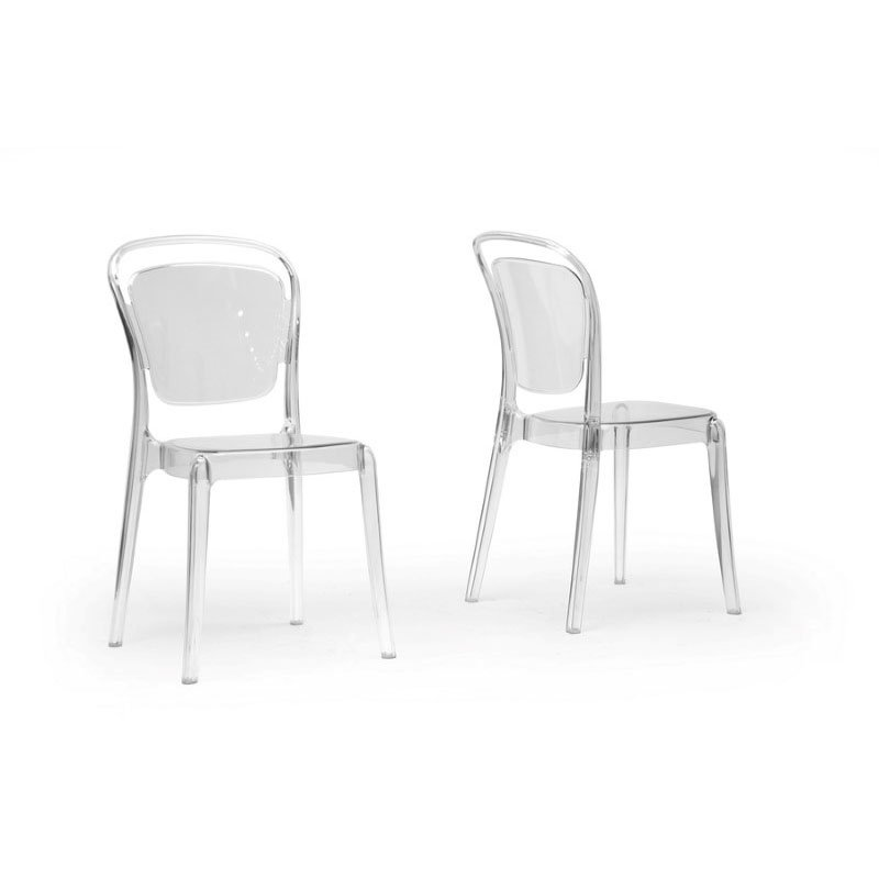 Baxton Studio Ingram Clear Plastic Stackable Modern Dining Chair (Set of 2)