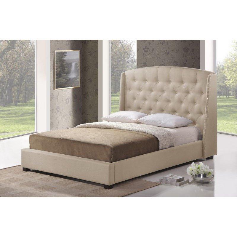 Baxton Studio Ipswich Light Beige Linen Modern Platform Bed in King Size
