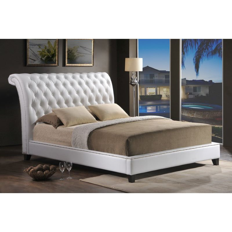 Baxton Studio Jazmin Tufted White Modern Bed with Upholstered Headboard in King Size