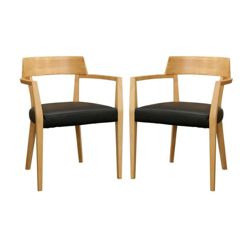 Baxton Studio Laine Light Wood Modern Dining Chair with Black Seat (Set of 2)