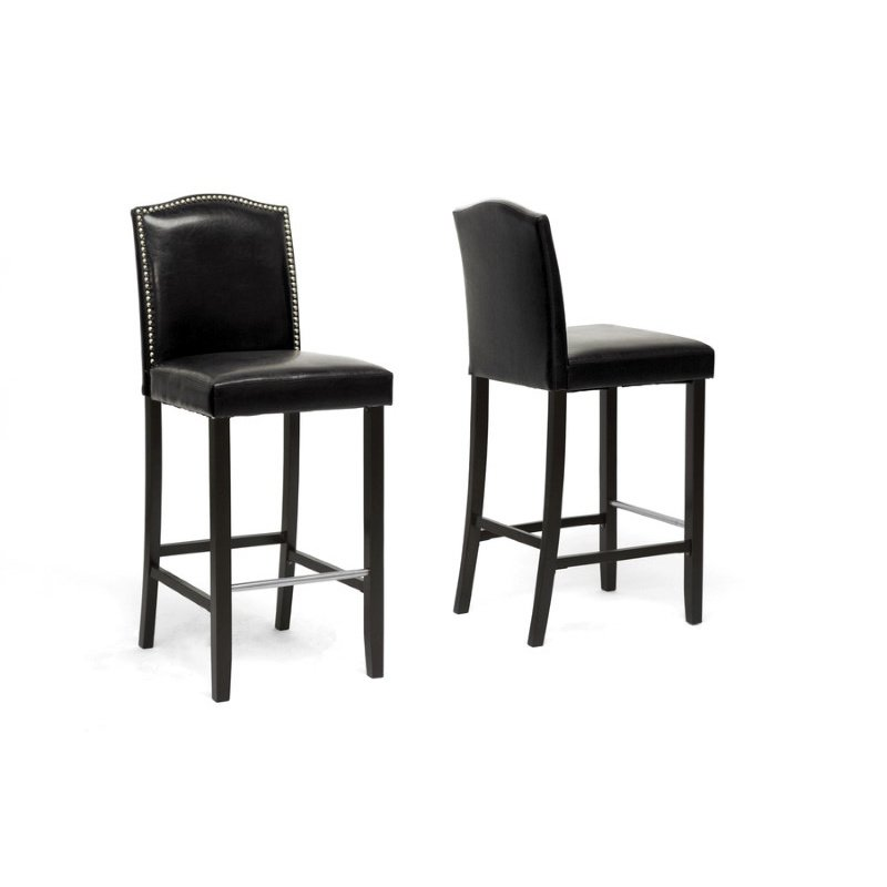 Baxton Studio Libra Black Modern Bar Stool with Nail Head Trim (Set of 2)