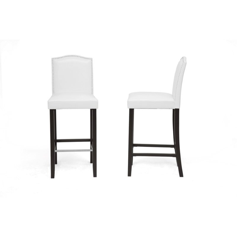 Baxton Studio Libra White Modern Bar Stool with Nail Head Trim (Set of 2)