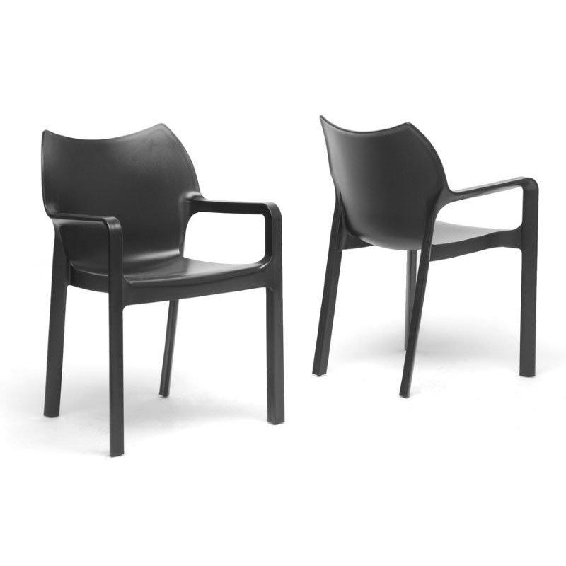 Baxton Studio Limerick Black Plastic Stackable Modern Dining Chair (Set of 2)