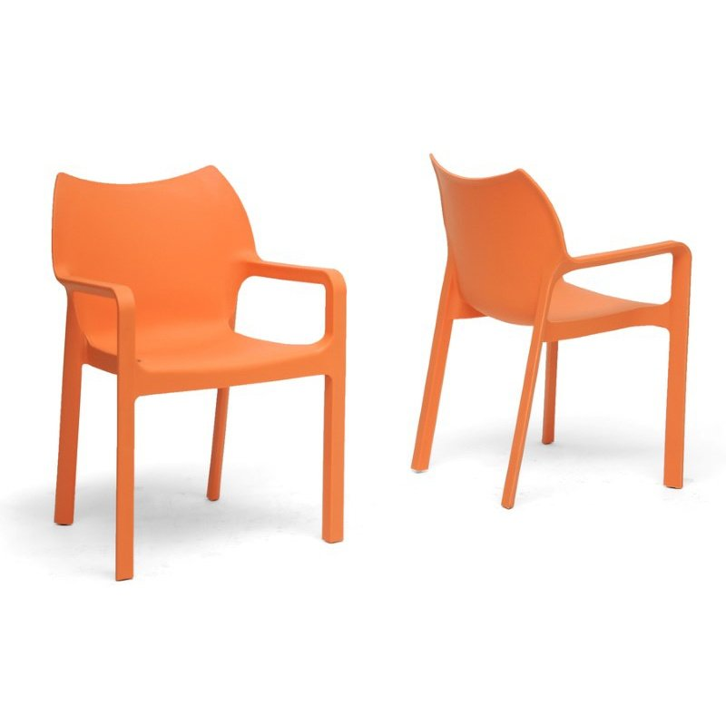 Baxton Studio Limerick Orange Plastic Stackable Modern Dining Chair (Set of 2)