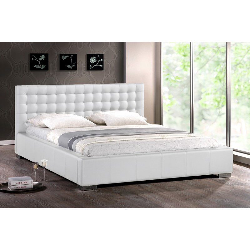 Baxton Studio Madison White Modern Bed with Upholstered Headboard in Full Size