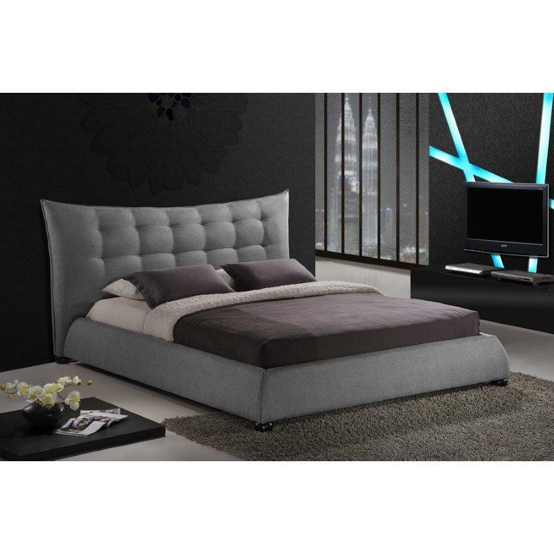 Baxton Studio Marguerite Gray Linen Modern Platform Bed in Queen Size