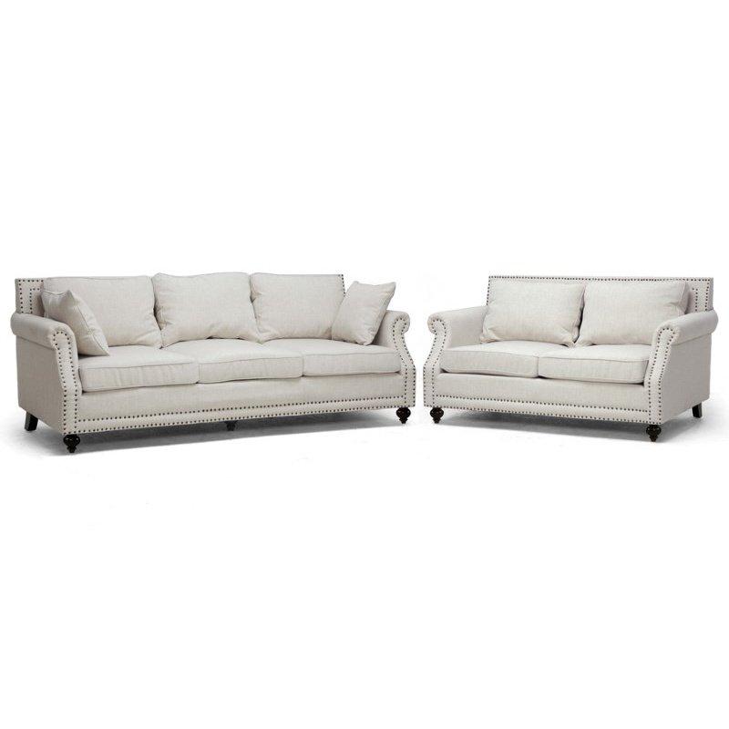 Baxton Studio Mckenna Beige Linen Modern Sofa Set