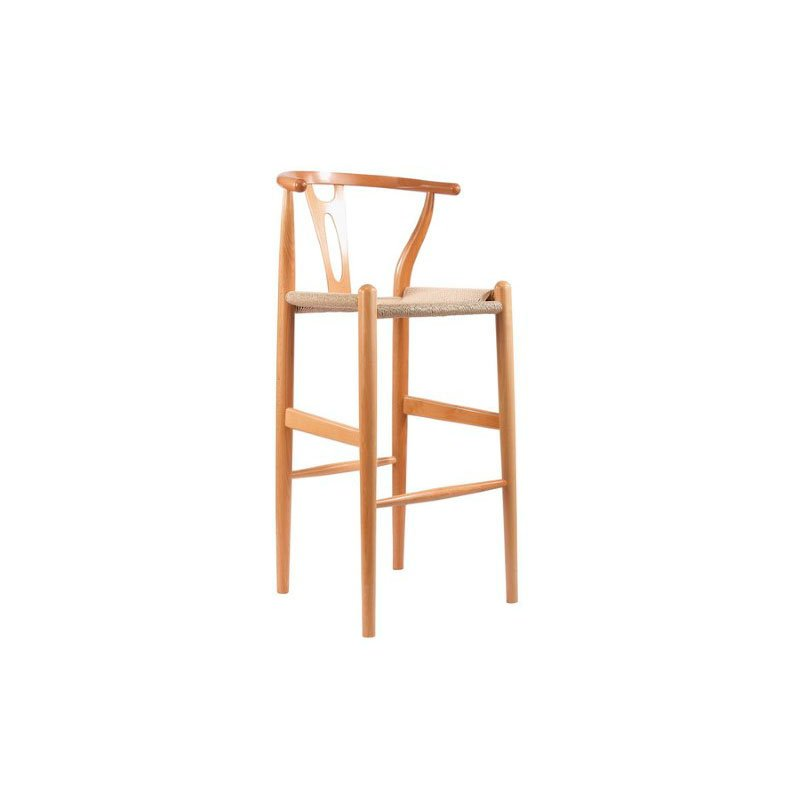 Baxton Studio Mid in Century Modern Wishbone Stool in Natural Wood Y Stool
