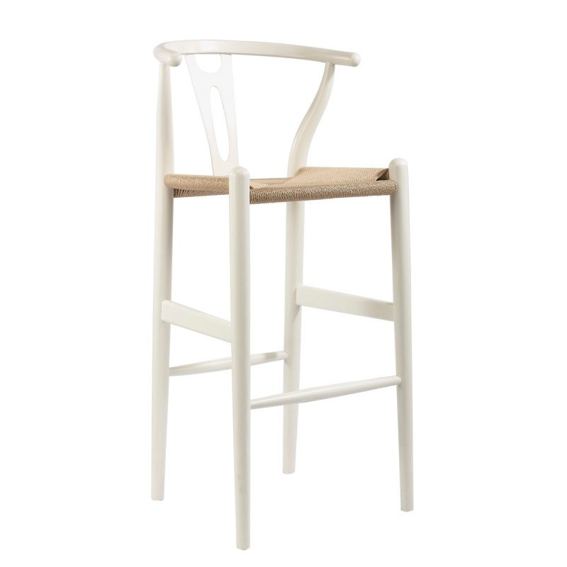 Baxton Studio Mid in Century Modern Wishbone Stool in White Wood Y Stool