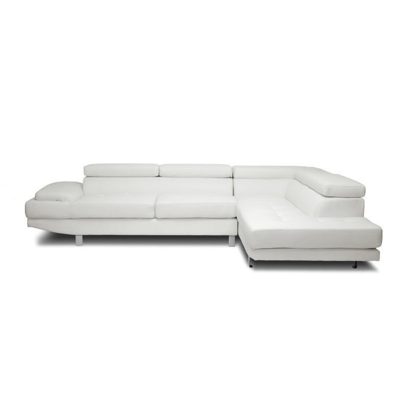 Baxton Studio Selma White Leather Modern Sectional Sofa