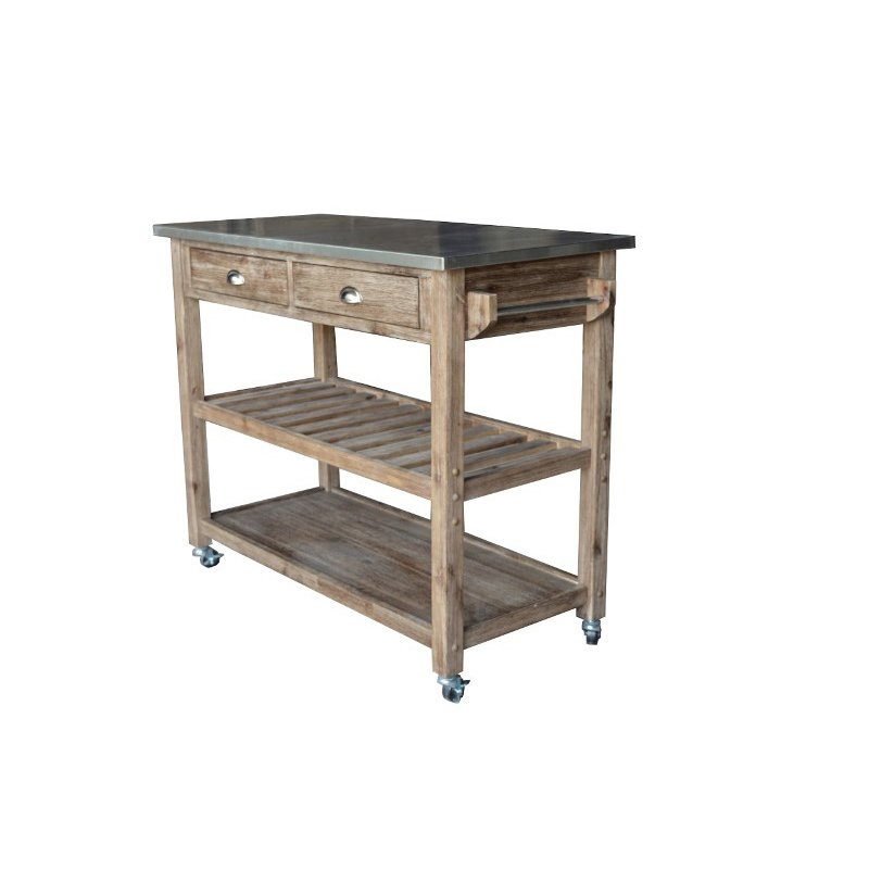 Boraam Sonoma Wire-brush Kitchen Cart