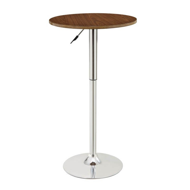 Coaster Adjustable Pub Table in Walnut and Chrome