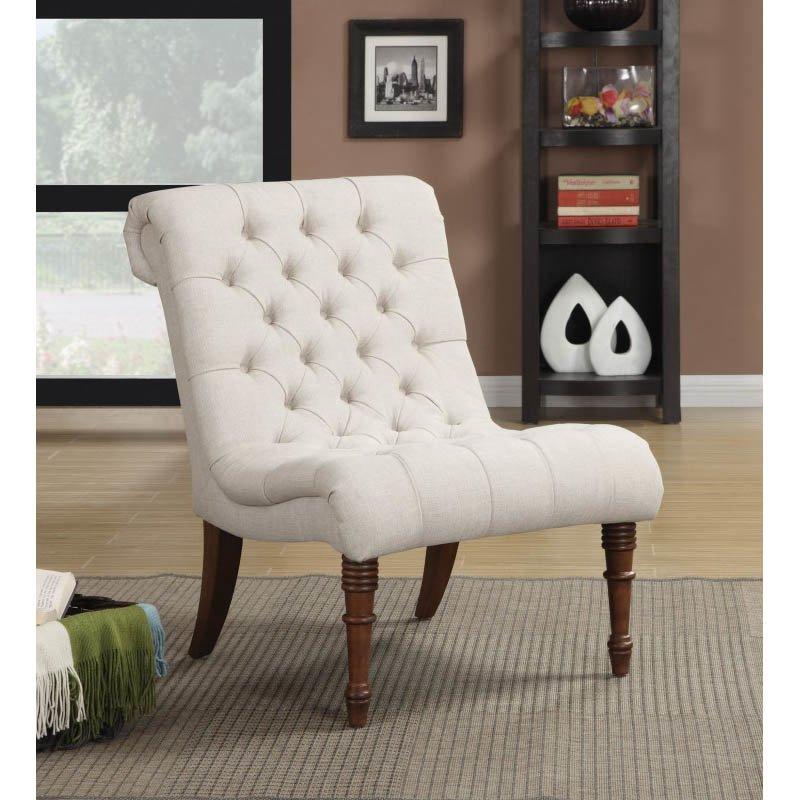 Coaster Curved Accent Chair In Light Brown