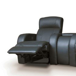 coaster furniture black vinyl home theater recliner chair