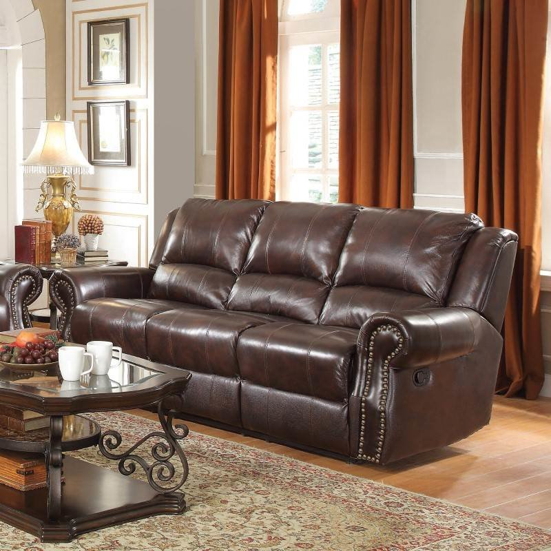 Coaster Rawlinson Leather Motion Reclining Sofa In Tobacco