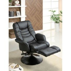 coaster recliner casual swivel recliner chair in black leatherette