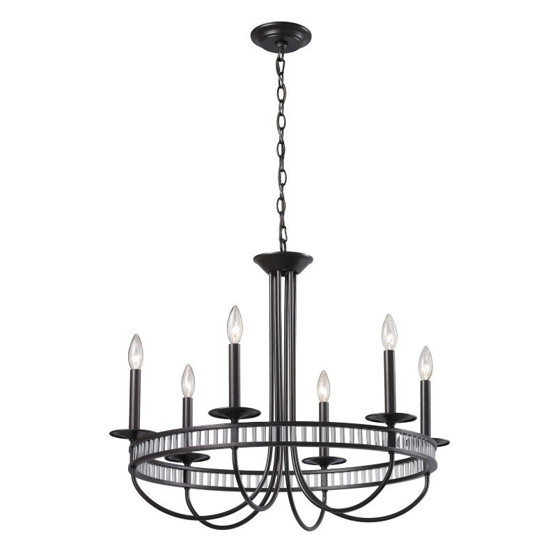 ELK Lighting Braxton 6 Light Chandelier In Aged Bronze And Clear Ribbed Glass (10241/6)