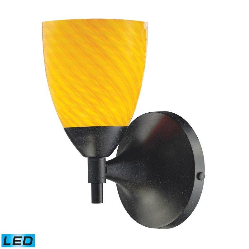 ELK Lighting Celina 1 Light LED Sconce In Dark Rust And Canary Glass (10150/1DR-CN-LED)