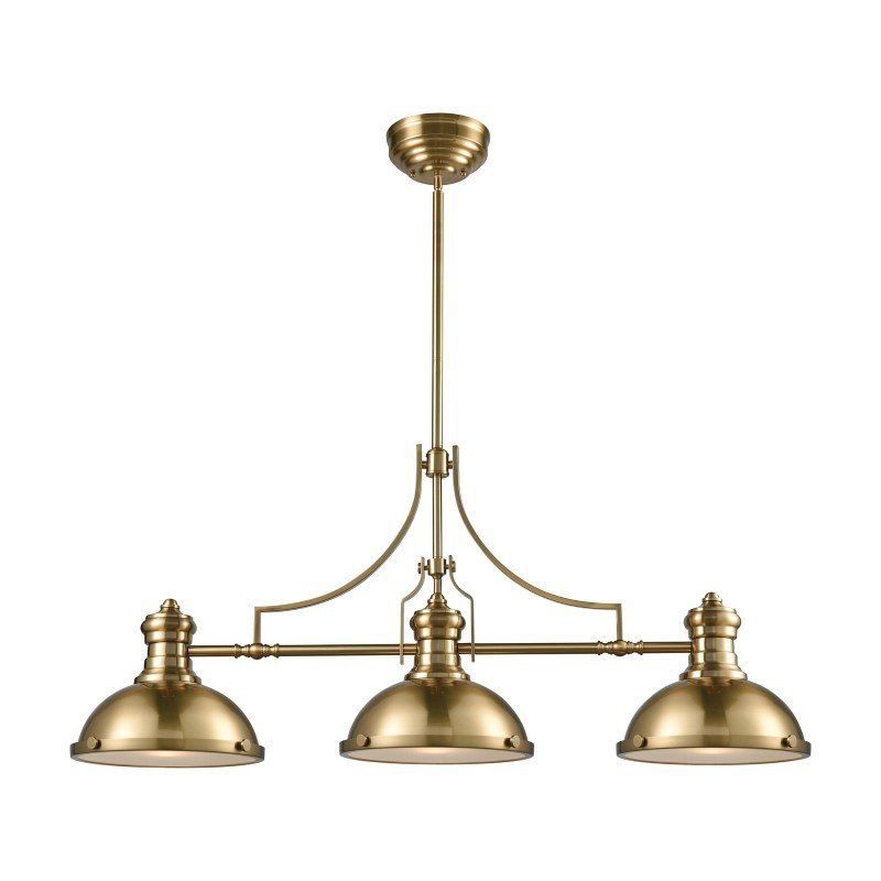 Chadwick 3 Light Pool Table Light: ELK Lighting Chadwick 3 Light Island In Satin Brass With