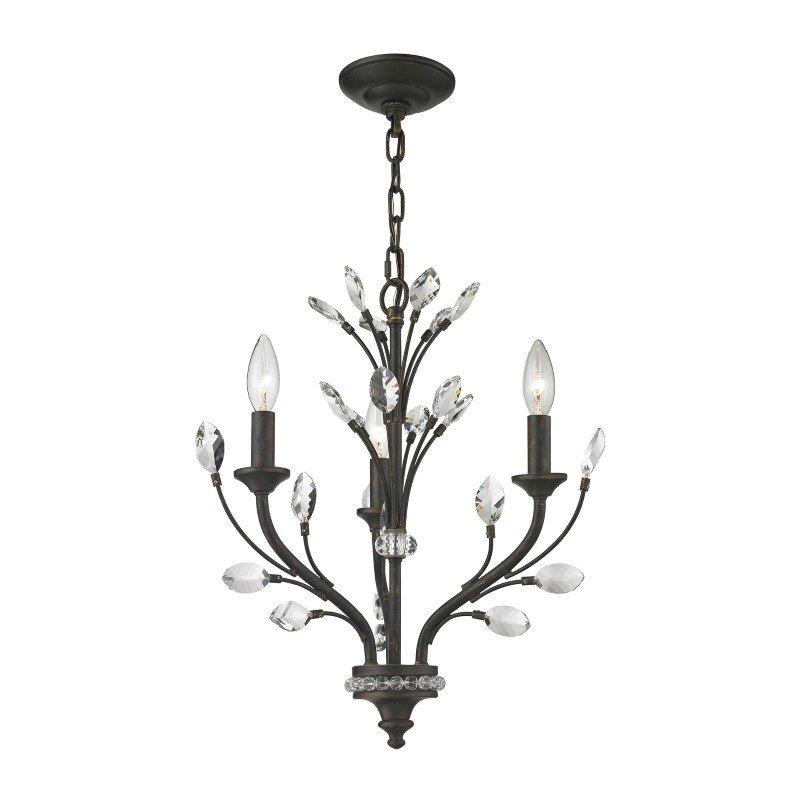 ELK Lighting Crystal Branches 3 Light Chandelier In Burnt Bronze (11774/3)
