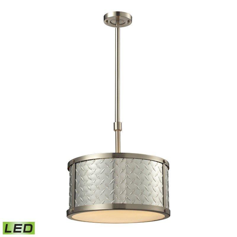 ELK Lighting Diamond Plate 3 Light LED Pendant In Brushed Nickel (31424/3-LED)