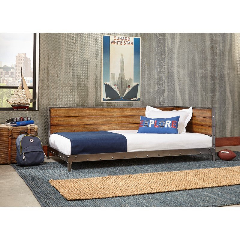 Fashion Bed Group Emmett Metal Corner Daybed With Reclaimed Wood Design And Height Adjustable Legs
