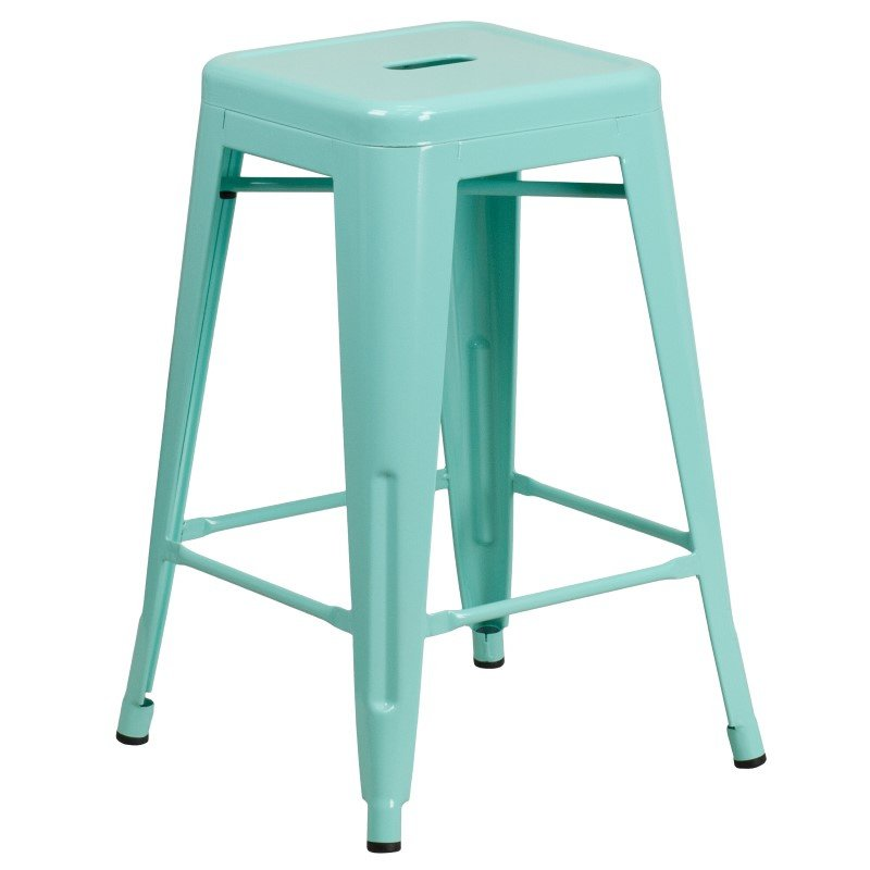 """Flash Furniture 24"""" High Backless Mint Green Indoor-Outdoor Counter Height Stool"""