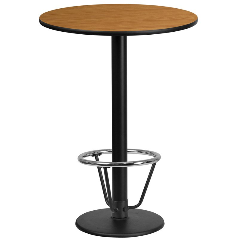 "Flash Furniture 24"" Round Natural Laminate Table Top with 18"" Round Bar Height Table Base and Foot Ring (XU-RD-24-NATTB-TR18B-3CFR-GG)"