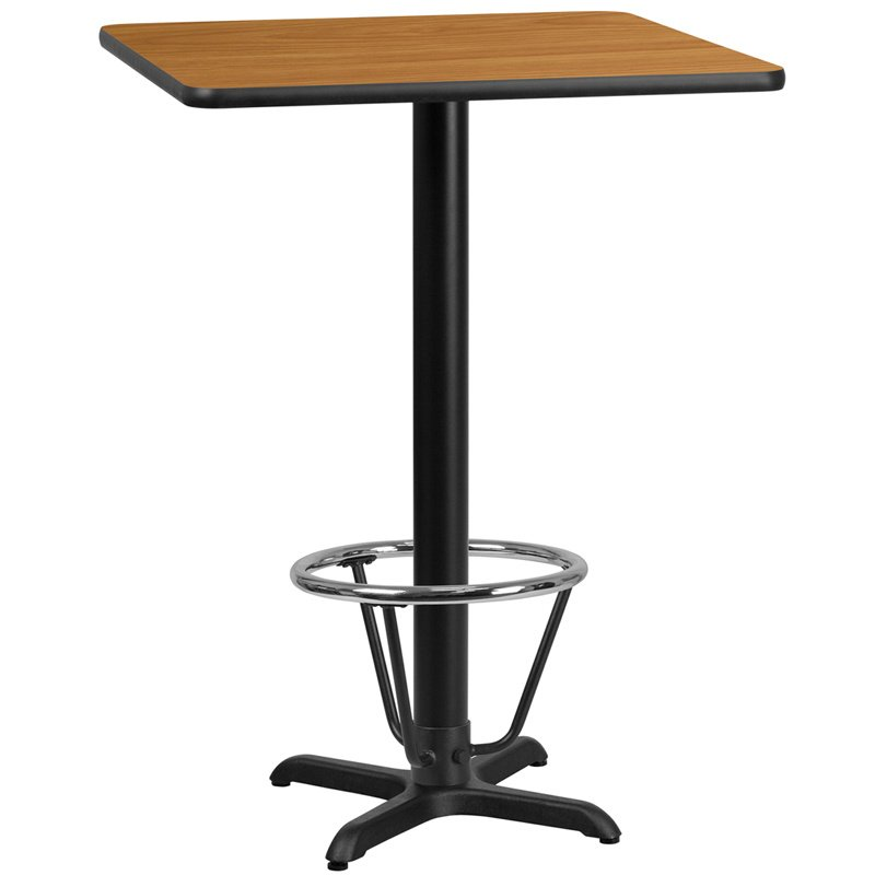 """Flash Furniture 24"""" Square Natural Laminate Table Top with 22"""" x 22"""" Bar Height Table Base and Foot Ring (XU-NATTB-2424-T2222B-3CFR-GG)"""
