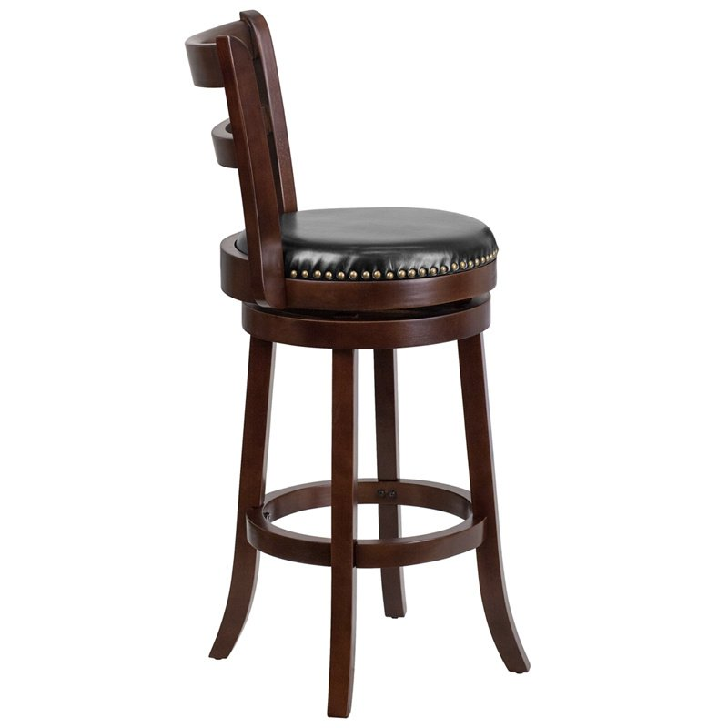 "Flash Furniture 30"" Cappuccino Wood Barstool with Black Leather Swivel Seat"