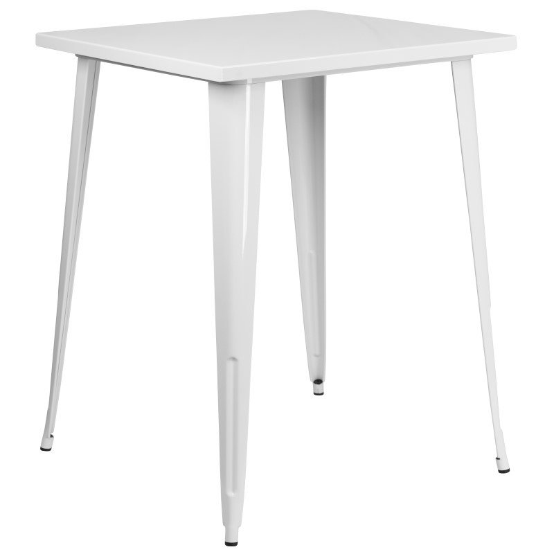 """Flash Furniture 31.5"""" Square Bar Height White Metal Indoor-Outdoor Table"""