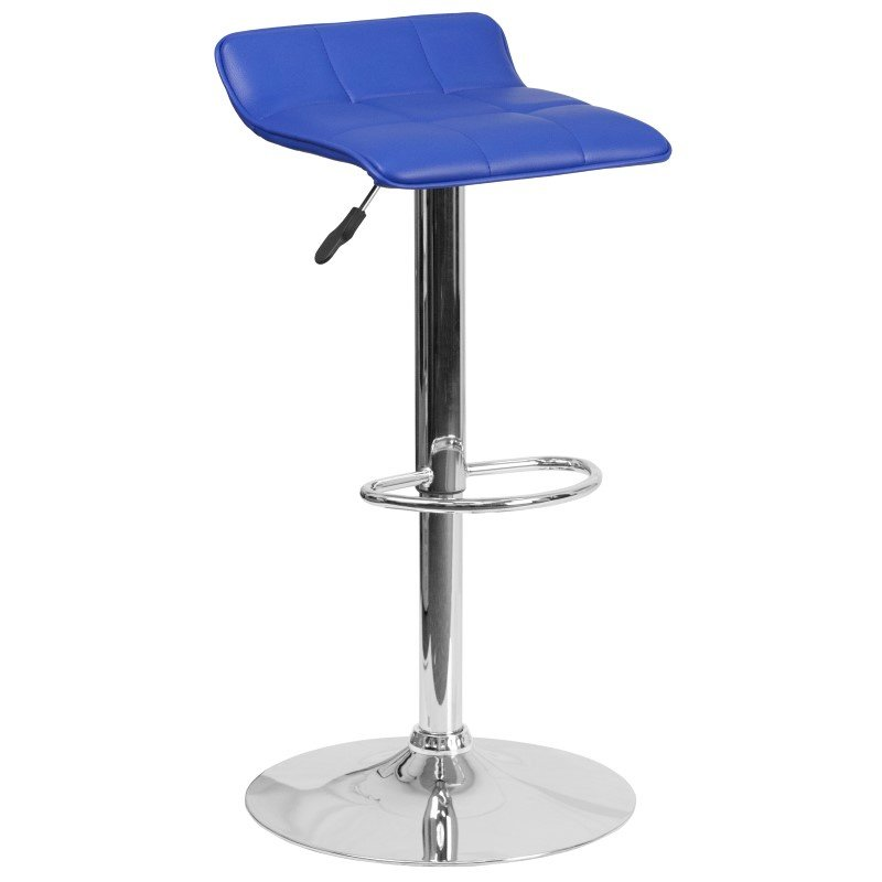 Flash Furniture 801B Contemporary Blue Vinyl Adjustable Height Barstool with Chrome Base
