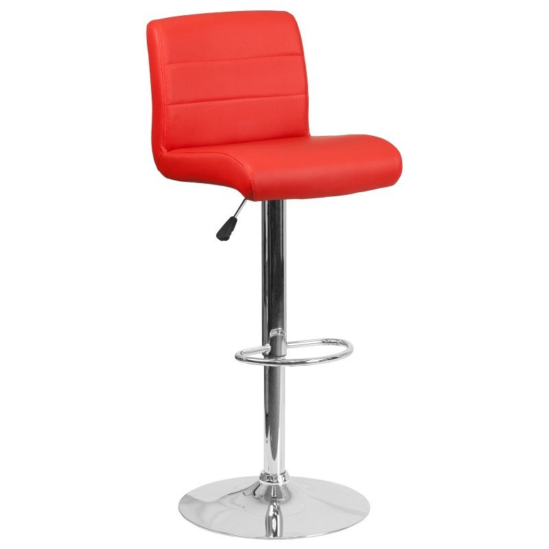 Flash Furniture 8101B Contemporary Red Vinyl Adjustable Height Barstool with Chrome Base