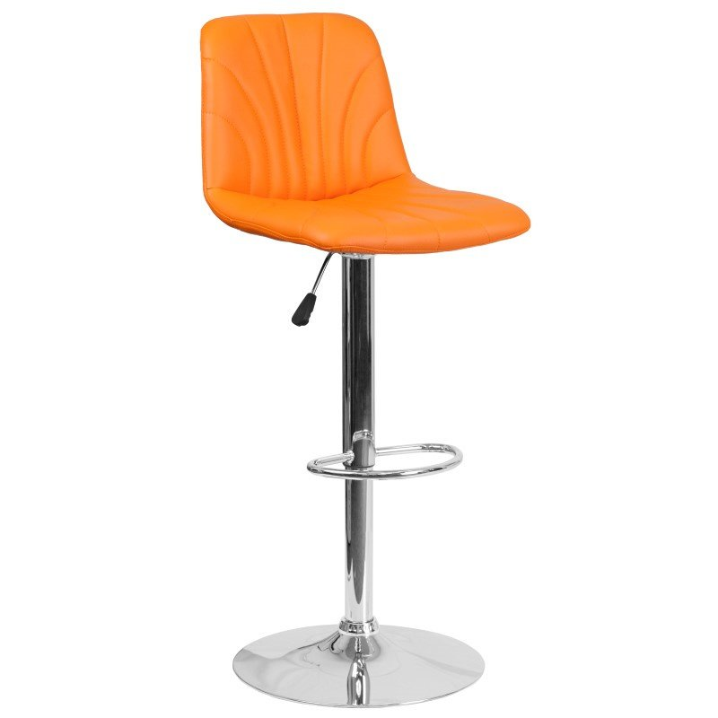 Flash Furniture 8220 Contemporary Orange Vinyl Adjustable Height Barstool with Chrome Base