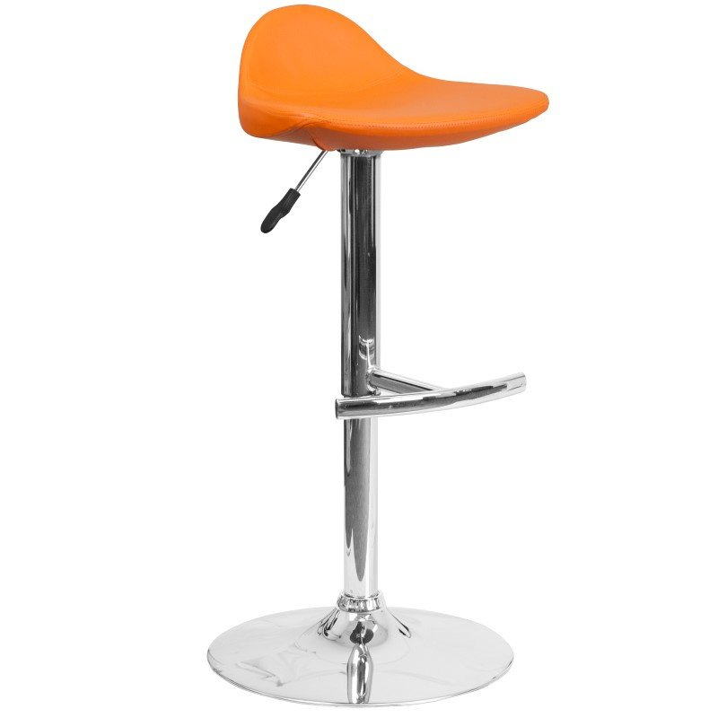 Flash Furniture Contemporary Orange-Vynyl Adjustable Height Barstool with Chrome Base