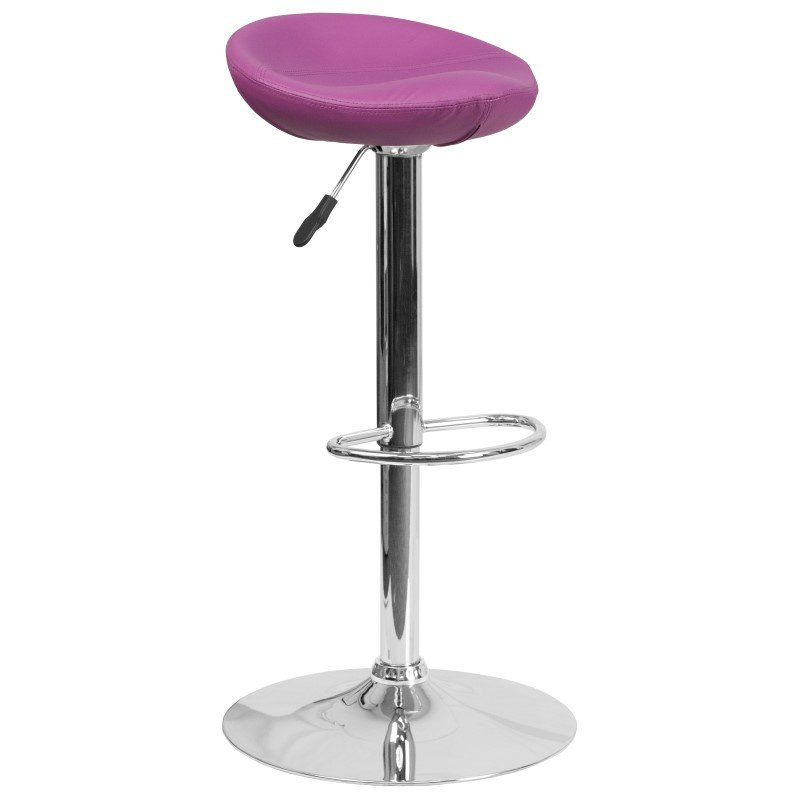Flash Furniture Contemporary Purple Vinyl Height Adjustable Barstool with Chrome Base