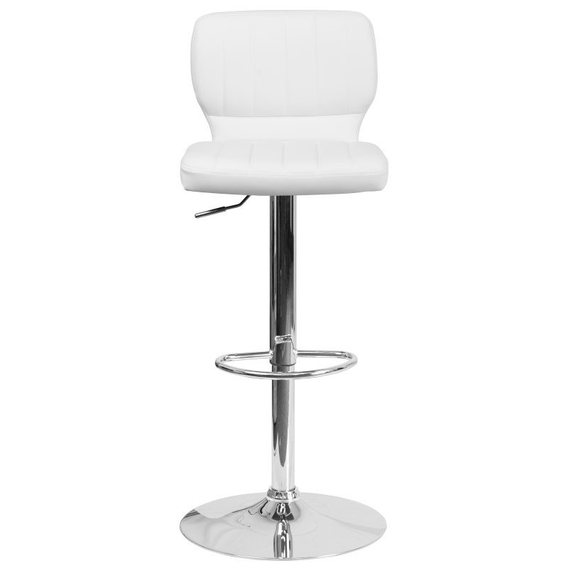 Flash Furniture Contemporary White Vinyl Adjustable Height Bar stool with Chrome Base