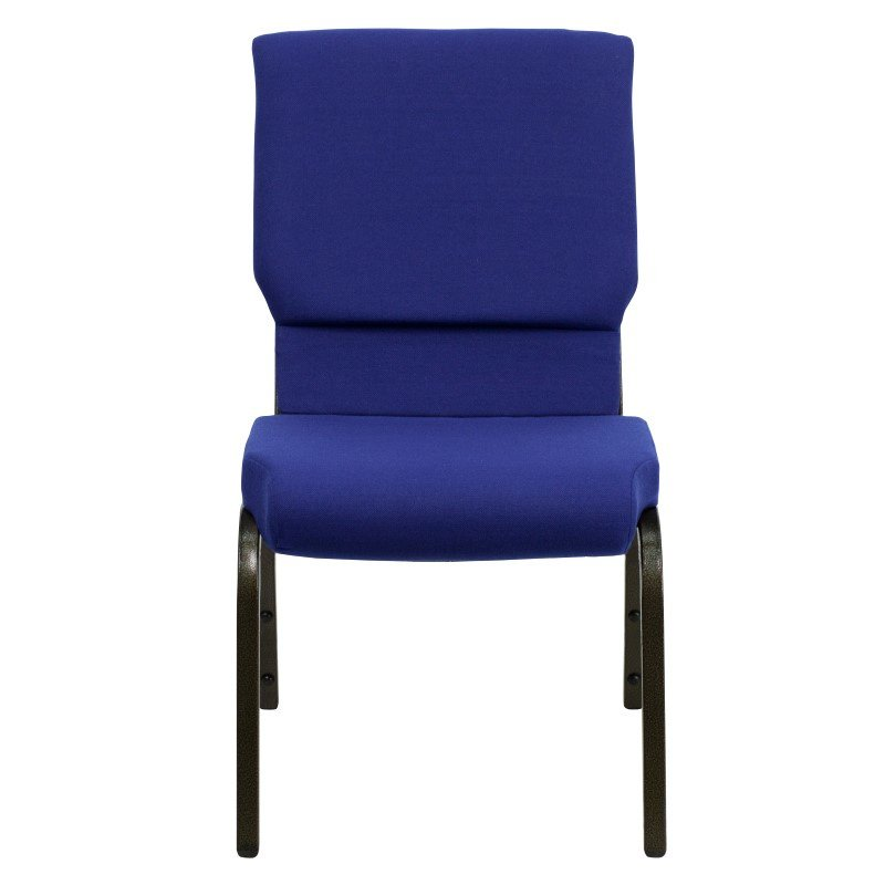 Flash Furniture HERCULES Series 18.5''W Navy Blue Fabric Stacking Church Chair with 4.25'' Thick Seat in Gold Vein Frame
